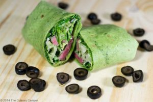 Steak caesar salad in a wrap.