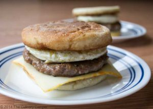 Sausage, egg and cheese sandwich.
