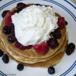 Sourdough Pancakes with berries and cream