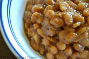 A delicious bowl of homemade baked beans.