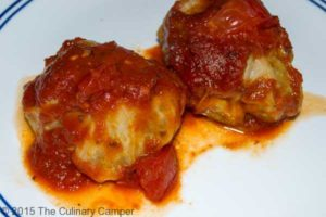Stuffed cabbage smothered in delicious tomato sause.