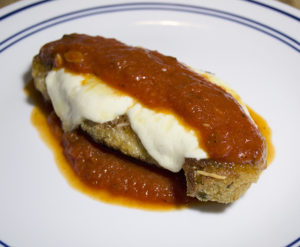 Chicken fillet breaded and fried, then baked with fresh mozzarella and parmesan cheese, then topped with marinara sauce.