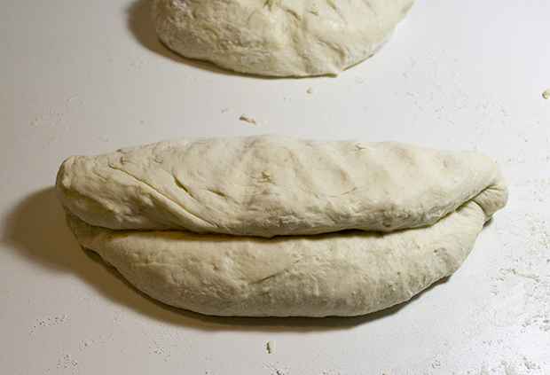 Fold dough over 1/3.