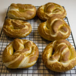 Fresh homemade pretzels out of the oven.